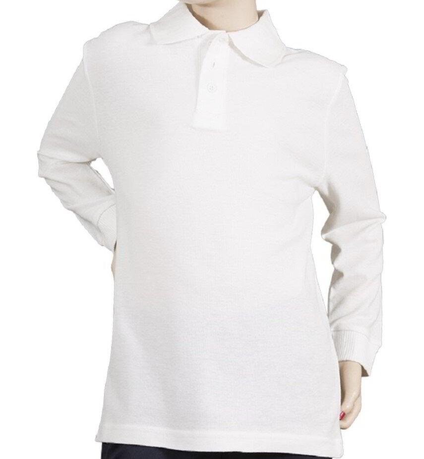Premium Quality Double Pique Polo Shirts WHITE & NAVY Youth Unisex (Boys & Girls) School Uniform Kids Long Sleeve Golf Shirt (Pack of 2)