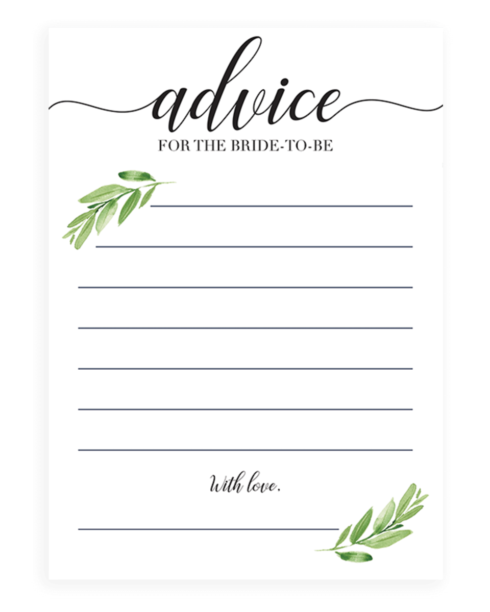 Advice For The Bride To Be Card Greenery Themed