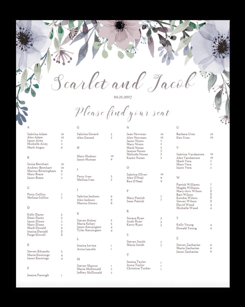 Printable Wedding Seating Chart Gianna Eggplant Purple /& Silver Reception Seating Plan Rush Digital File Alphabetical Order Portrait